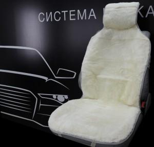 Накидка на сиденье белая (натуральный мех)